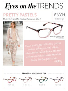 mary kitchen, eyes on the trends, pretty pastels, roberto cavalli, cavalli, pink, light pink, pretty, runway, spring, summer, collection, eyewear, fashion, for your face, face, glasses, frames, specs, summer, trendy, trends, fysh uk, westgroupe