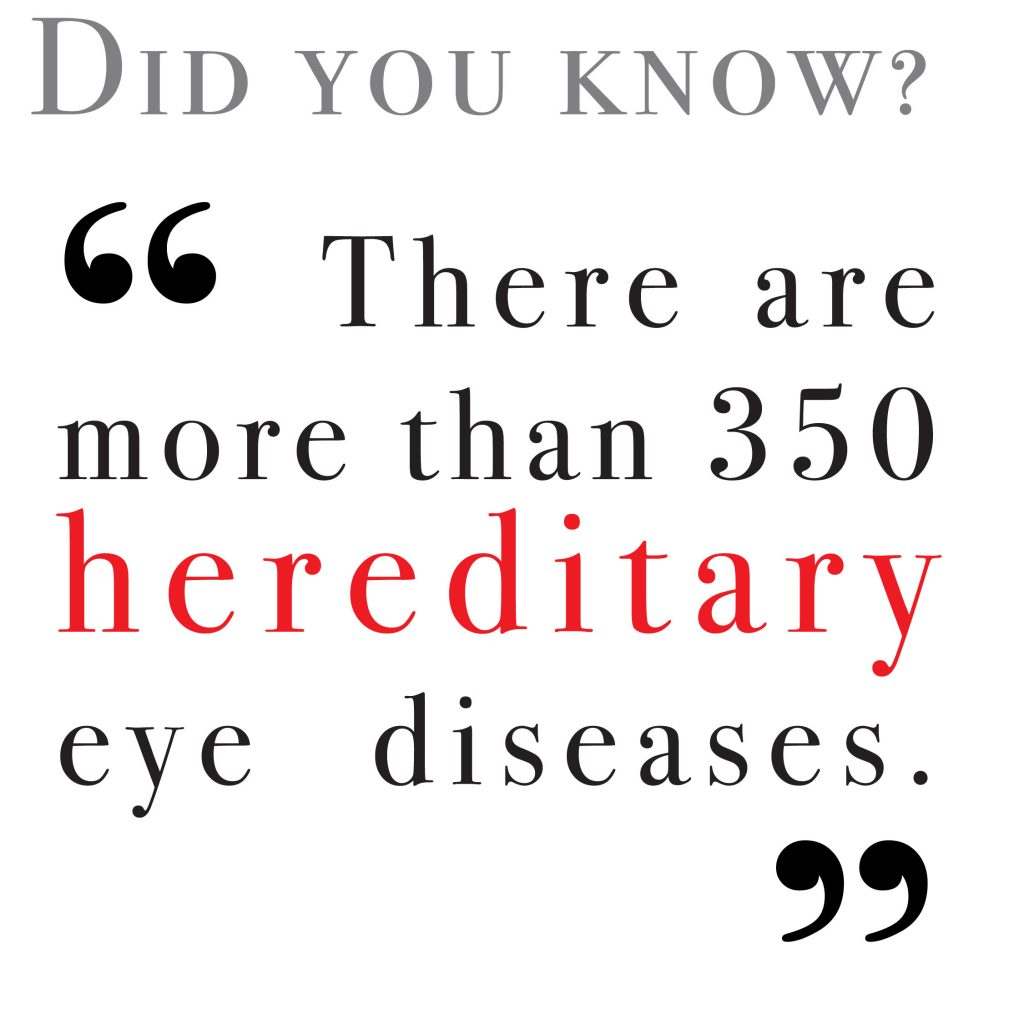 There are more than 350 hereditary eye diseases